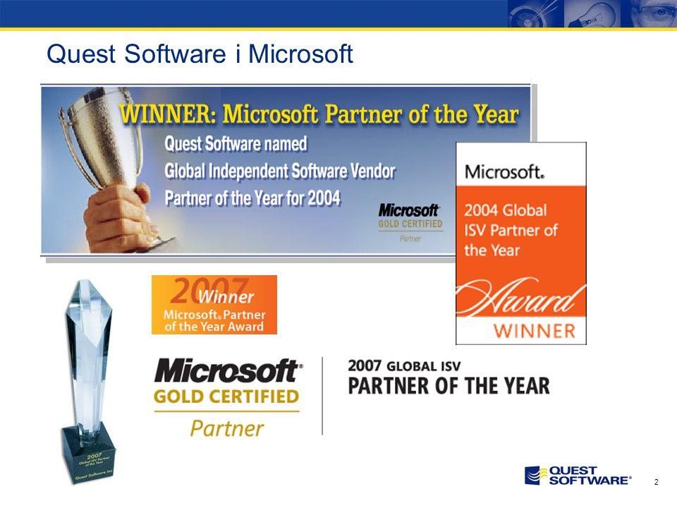 1 Quest Software Stały wzrost przychodów Ponad 500 mln USD przychodów w 2006 Nasdaq: QSFT 2,800+ pracowników Klienci –18,000+ cały Świat –75% z listy