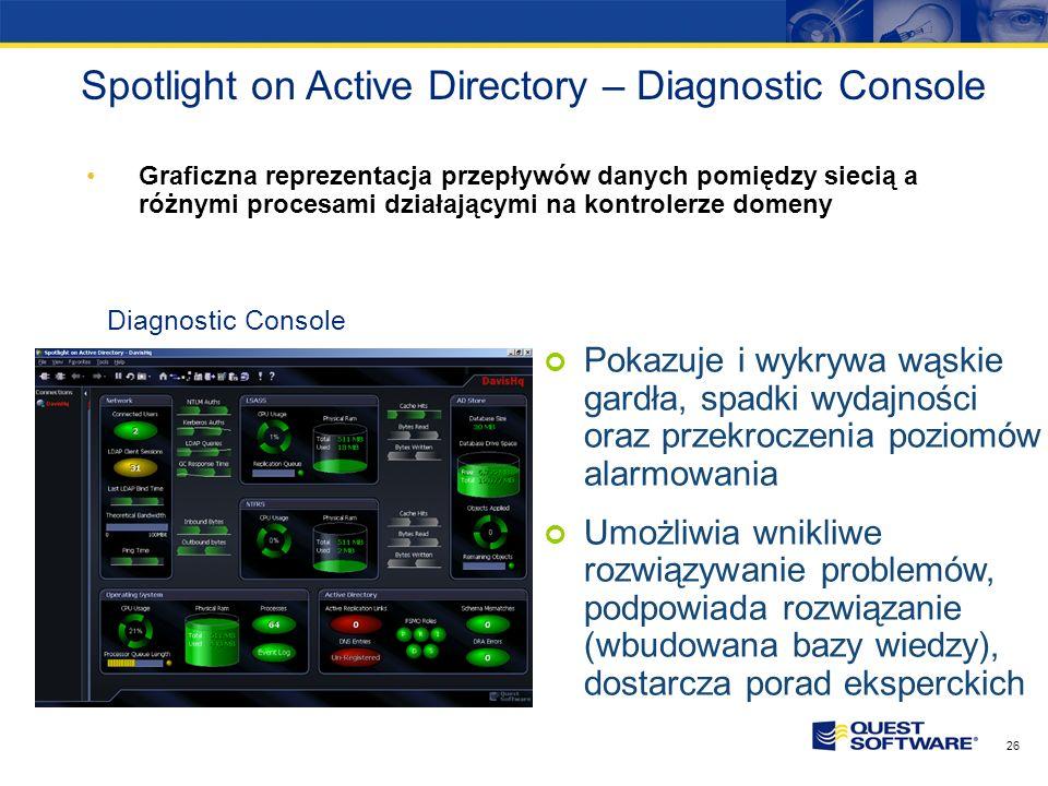 25 Topology Viewer Widok na topologię siteów i replikacji Active Directory oraz wizualne wykrywanie problemów w tym obszarze Przyspieszanie czasu rozw