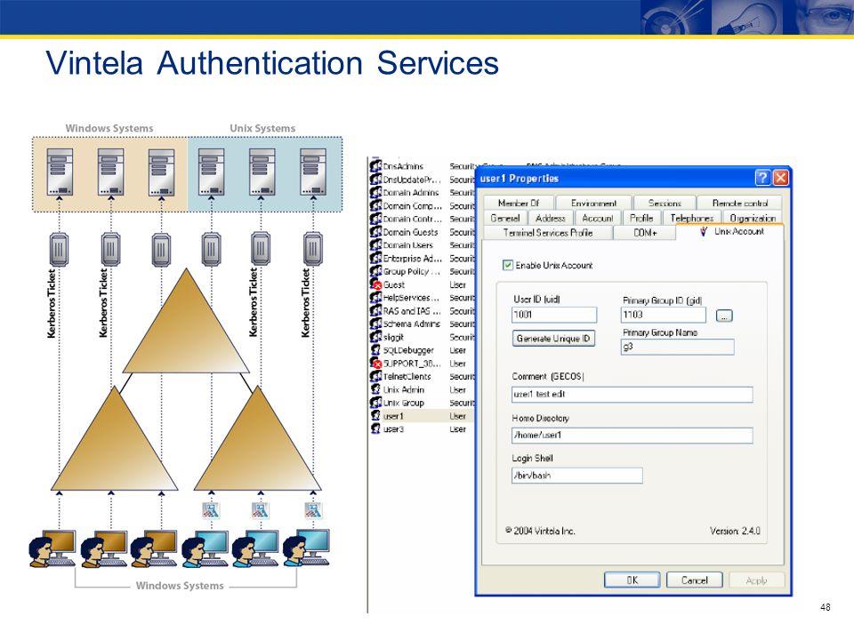47 Rozwiązania Vintela Vintela Authentication Services od Quest Software pozwala rozszerzyć istniejącą infrastrukturę Active Directory o serwery Linux