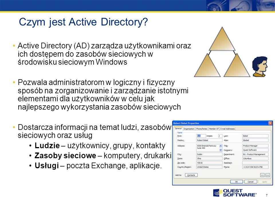 6 Przewidywania rynku Active Directory Spojrzenie na produkty firm trzecich rozszerzających zarządzanie oraz funkcjonalność Active Directory…Uważamy,