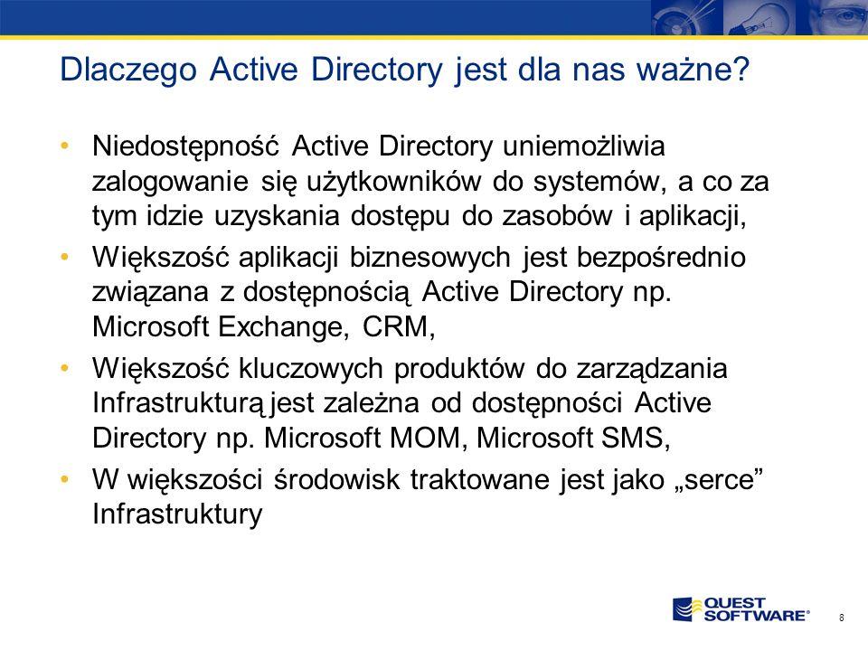 7 Czym jest Active Directory? Active Directory (AD) zarządza użytkownikami oraz ich dostępem do zasobów sieciowych w środowisku sieciowym Windows Pozw