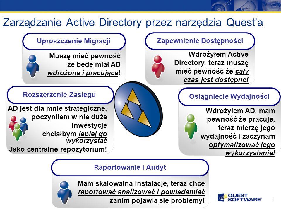 8 Dlaczego Active Directory jest dla nas ważne? Niedostępność Active Directory uniemożliwia zalogowanie się użytkowników do systemów, a co za tym idzi