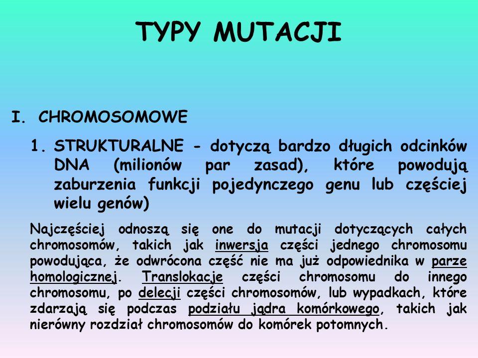 I.CHROMOSOMOWE 1.STRUKTURALNE - dotyczą bardzo długich odcinków DNA (milionów par zasad), które powodują zaburzenia funkcji pojedynczego genu lub częś