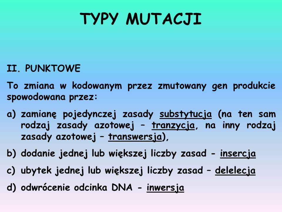 II. PUNKTOWE To zmiana w kodowanym przez zmutowany gen produkcie spowodowana przez: a)zamianę pojedynczej zasady substytucja (na ten sam rodzaj zasady