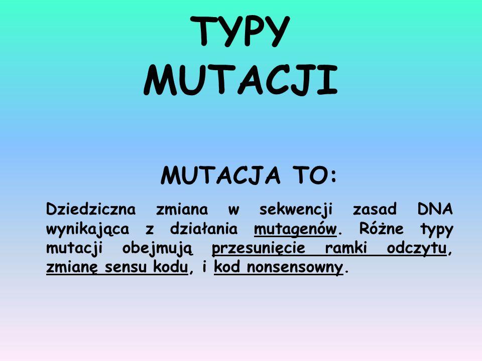 MUTACJA TO: Dziedziczna zmiana w sekwencji zasad DNA wynikająca z działania mutagenów. Różne typy mutacji obejmują przesunięcie ramki odczytu, zmianę