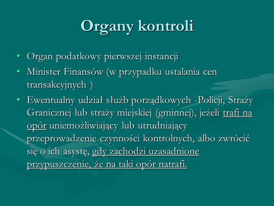 Organy kontroli Organ podatkowy pierwszej instancjiOrgan podatkowy pierwszej instancji Minister Finansów (w przypadku ustalania cen transakcyjnych )Mi