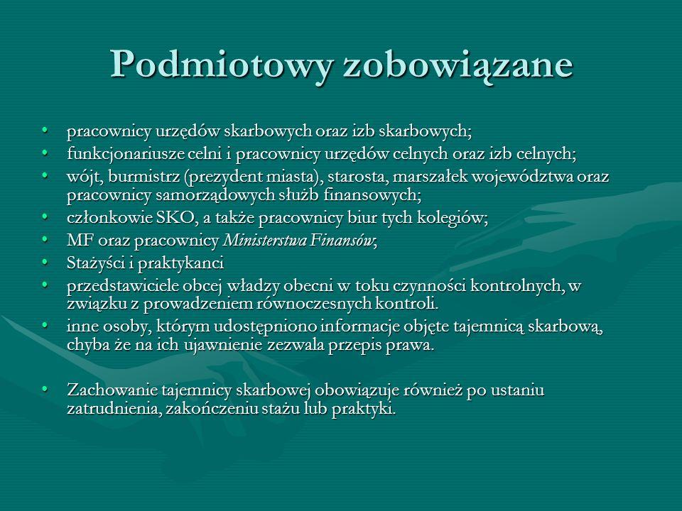 Podmiotowy zobowiązane pracownicy urzędów skarbowych oraz izb skarbowych;pracownicy urzędów skarbowych oraz izb skarbowych; funkcjonariusze celni i pr