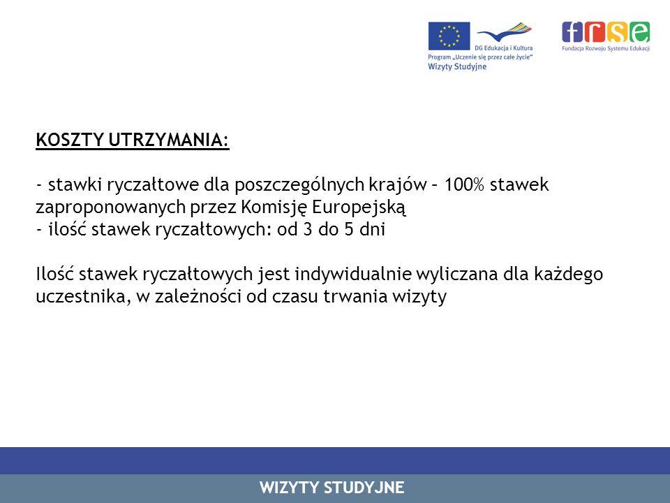 KOSZTY UTRZYMANIA: - stawki ryczałtowe dla poszczególnych krajów – 100% stawek zaproponowanych przez Komisję Europejską - ilość stawek ryczałtowych: od 3 do 5 dni Ilość stawek ryczałtowych jest indywidualnie wyliczana dla każdego uczestnika, w zależności od czasu trwania wizyty