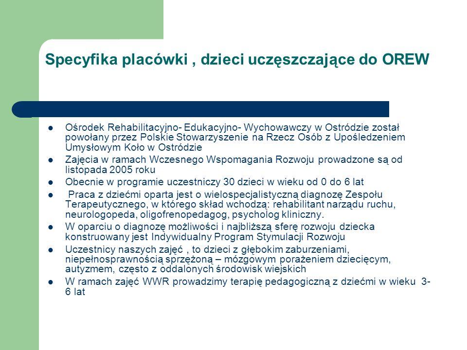 Specyfika placówki, dzieci uczęszczające do OREW Ośrodek Rehabilitacyjno- Edukacyjno- Wychowawczy w Ostródzie został powołany przez Polskie Stowarzysz