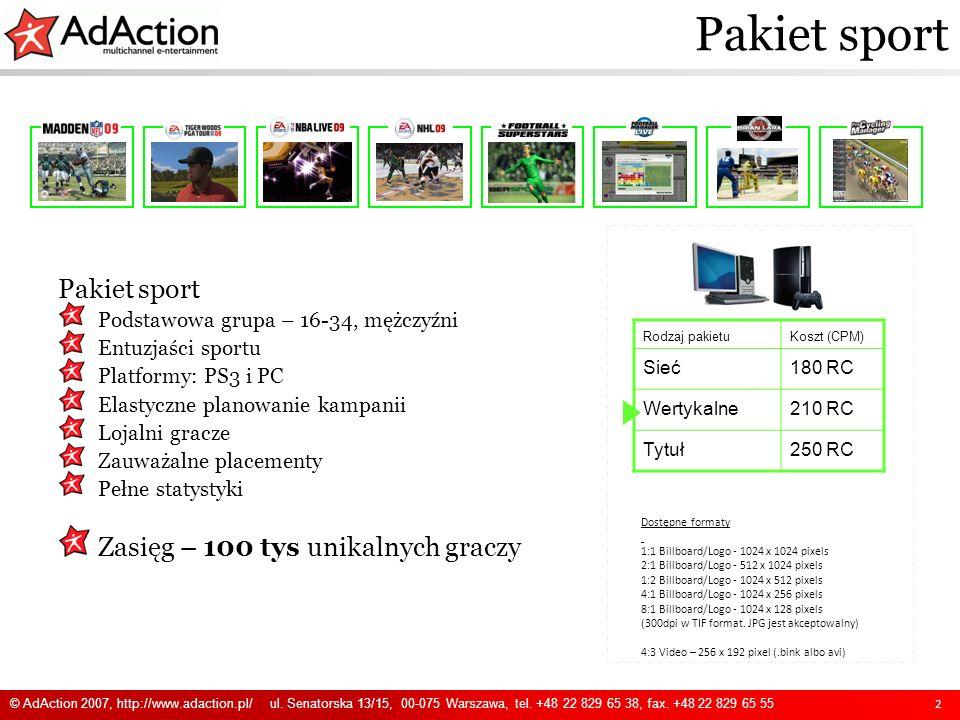 Pakiet sport 2 Rodzaj pakietuKoszt (CPM) Sieć180 RC Wertykalne210 RC Tytuł250 RC Dostępne formaty 1:1 Billboard/Logo - 1024 x 1024 pixels 2:1 Billboar