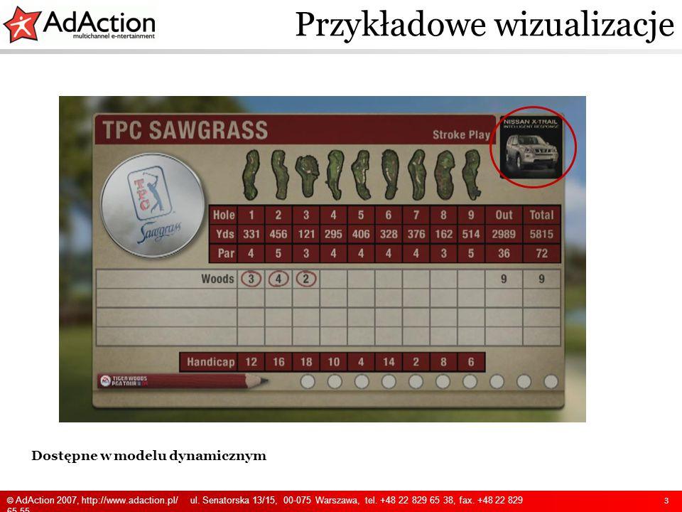 Dostępne w modelu dynamicznym Przykładowe wizualizacje 3 © AdAction 2007, http://www.adaction.pl/ ul. Senatorska 13/15, 00-075 Warszawa, tel. +48 22 8