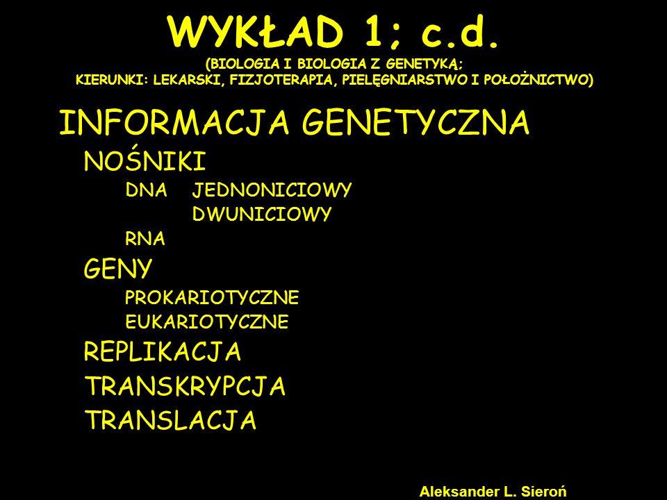 Promotor E1E1 I1I1 E2E2 I2I2 EnEn ExEx IxIx TRANSKRYPCJA U EUKARIOTA ATG SEKWENCJE KODUJĄCE [EXONY] SEKWENCJE NIEKODUJĄCE [INTRONY] STOP E1E1 I1I1 E2E2 I2I2 EnEn ExEx IxIx heterogenny jdrowy RNA hnRNA informacyjny RNA mRNA Modyfikacja końca 5 Dobudowanie czapeczki kapowanie Modyfikacja końca 3 Dobudowanie ogona poliA poliadenylacja E1E1 E2E2 EnEn ExEx C PoliA Aleksander L.