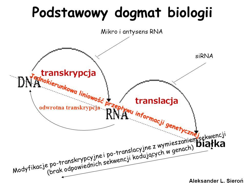 Podstawowy dogmat biologii białka transkrypcja translacja odwrotna transkrypcja Jednokierunkowa liniowość przepływu informacji genetycznej Modyfikacje