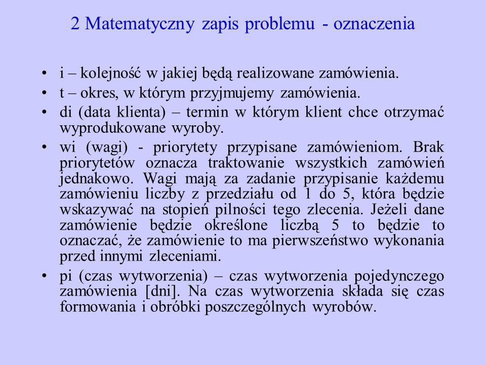 2 Matematyczny zapis problemu - oznaczenia i – kolejność w jakiej będą realizowane zamówienia. t – okres, w którym przyjmujemy zamówienia. di (data kl