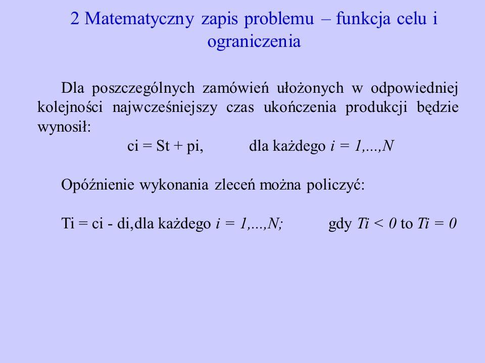 2 Matematyczny zapis problemu – funkcja celu i ograniczenia Dla poszczególnych zamówień ułożonych w odpowiedniej kolejności najwcześniejszy czas ukońc