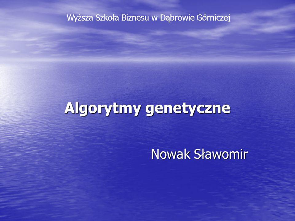 Algorytmy genetyczne Nowak Sławomir Wyższa Szkoła Biznesu w Dąbrowie Górniczej