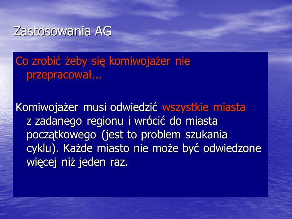 Zastosowania AG Co zrobić żeby się komiwojażer nie przepracował... Komiwojażer musi odwiedzić wszystkie miasta z zadanego regionu i wrócić do miasta p