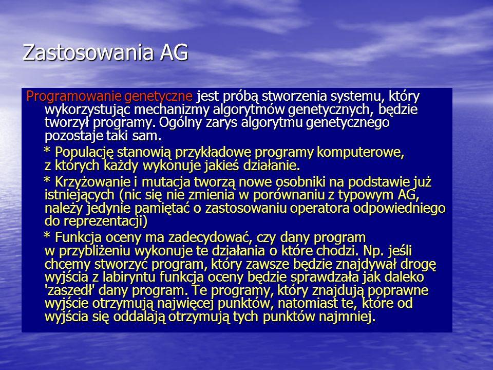 Zastosowania AG Programowanie genetyczne jest próbą stworzenia systemu, który wykorzystując mechanizmy algorytmów genetycznych, będzie tworzył program