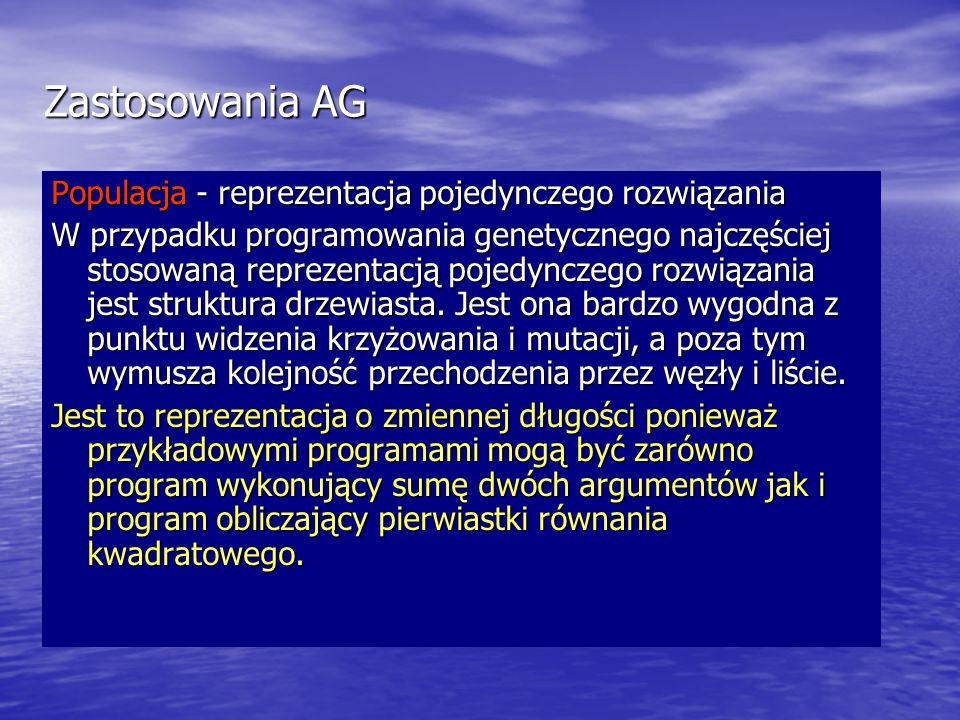 Zastosowania AG Populacja - reprezentacja pojedynczego rozwiązania W przypadku programowania genetycznego najczęściej stosowaną reprezentacją pojedync