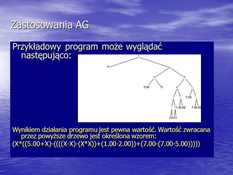 Zastosowania AG Przykładowy program może wyglądać następująco: Wynikiem działania programu jest pewna wartość. Wartość zwracana przez powyższe drzewo