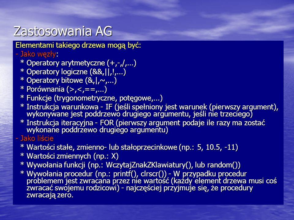 Zastosowania AG Elementami takiego drzewa mogą być: - Jako węzły: * Operatory arytmetyczne (+,-,/,...) * Operatory arytmetyczne (+,-,/,...) * Operator