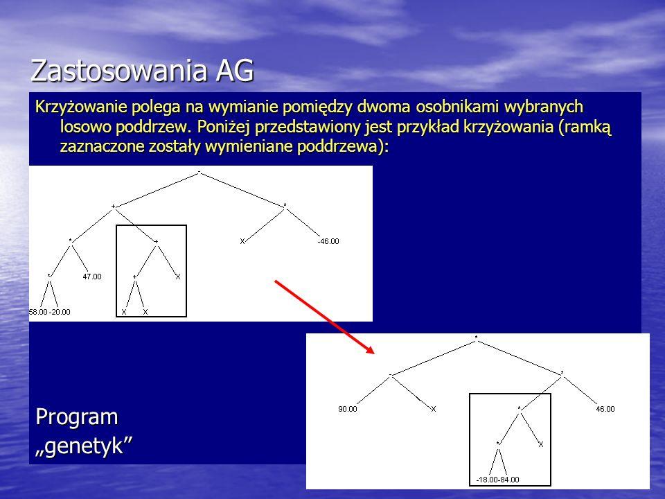Zastosowania AG Krzyżowanie polega na wymianie pomiędzy dwoma osobnikami wybranych losowo poddrzew. Poniżej przedstawiony jest przykład krzyżowania (r