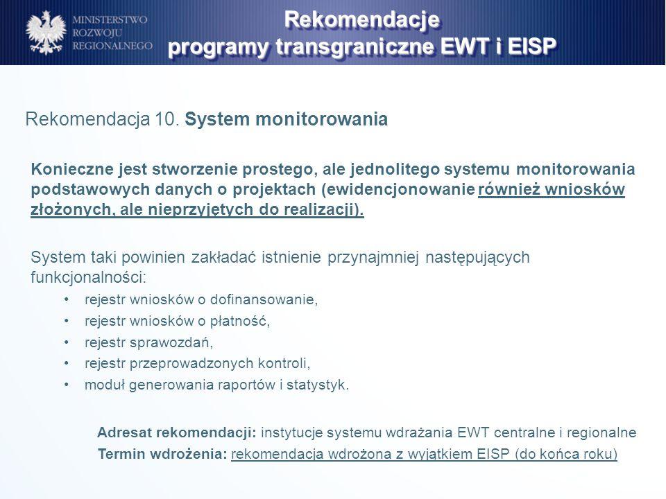 Konieczne jest stworzenie prostego, ale jednolitego systemu monitorowania podstawowych danych o projektach (ewidencjonowanie również wniosków złożonyc