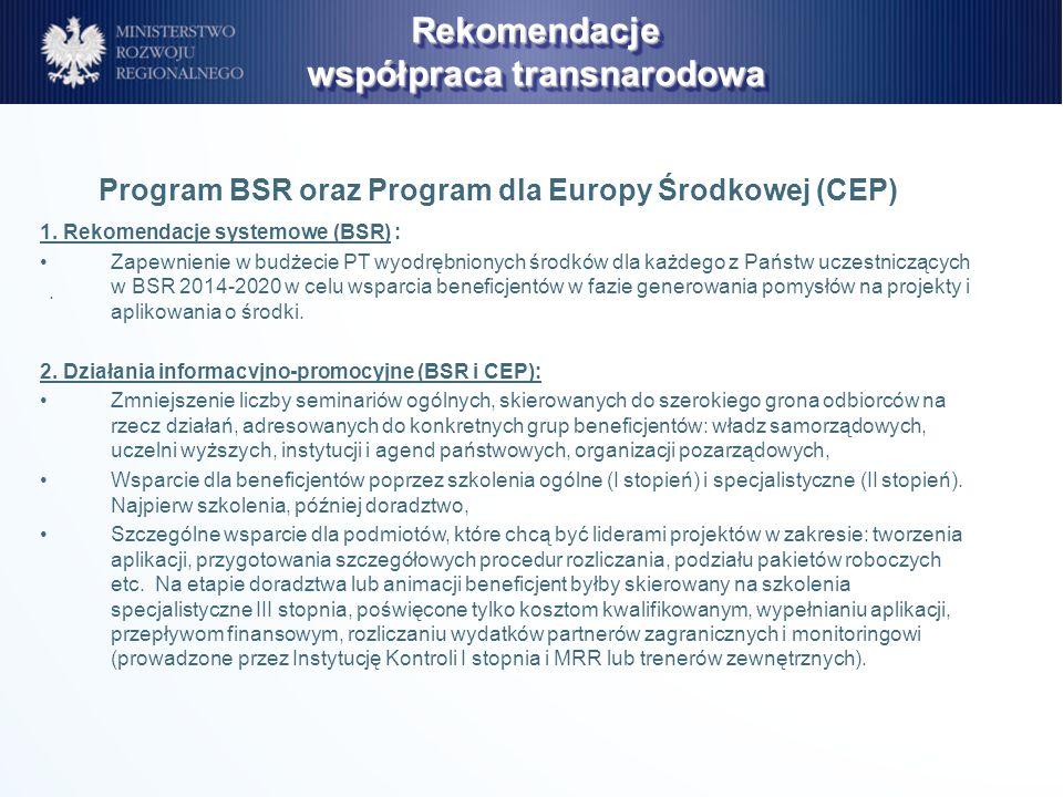 . 1. Rekomendacje systemowe (BSR) : Zapewnienie w budżecie PT wyodrębnionych środków dla każdego z Państw uczestniczących w BSR 2014-2020 w celu wspar
