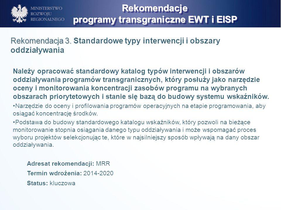 Należy opracować standardowy katalog typów interwencji i obszarów oddziaływania programów transgranicznych, który posłuży jako narzędzie oceny i monit