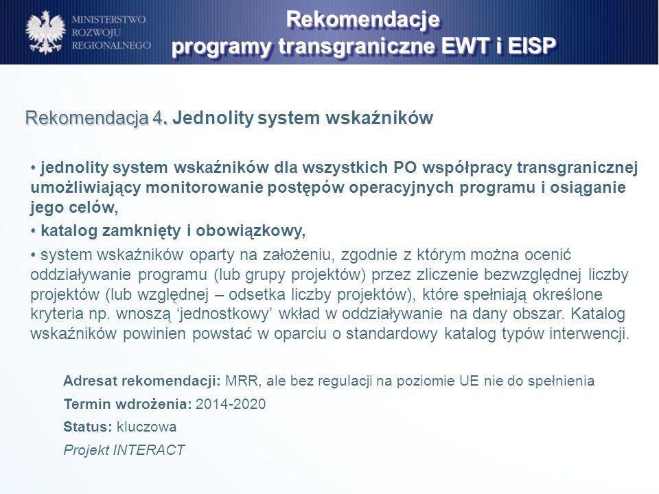 jednolity system wskaźników dla wszystkich PO współpracy transgranicznej umożliwiający monitorowanie postępów operacyjnych programu i osiąganie jego c