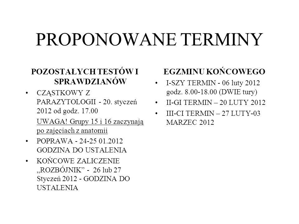PROPONOWANE TERMINY POZOSTAŁYCH TESTÓW I SPRAWDZIANÓW CZĄSTKOWY Z PARAZYTOLOGII - 20. styczeń 2012 od godz. 17.00 UWAGA! Grupy 15 i 16 zaczynają po za