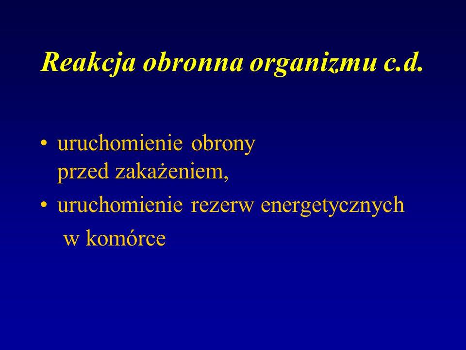 Reakcja obronna organizmu c.d. uruchomienie obrony przed zakażeniem, uruchomienie rezerw energetycznych w komórce