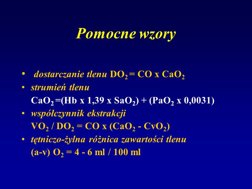 Pomocne wzory dostarczanie tlenu DO 2 = CO x CaO 2 strumień tlenu CaO 2 =(Hb x 1,39 x SaO 2 ) + (PaO 2 x 0,0031) współczynnik ekstrakcji VO 2 / DO 2 =