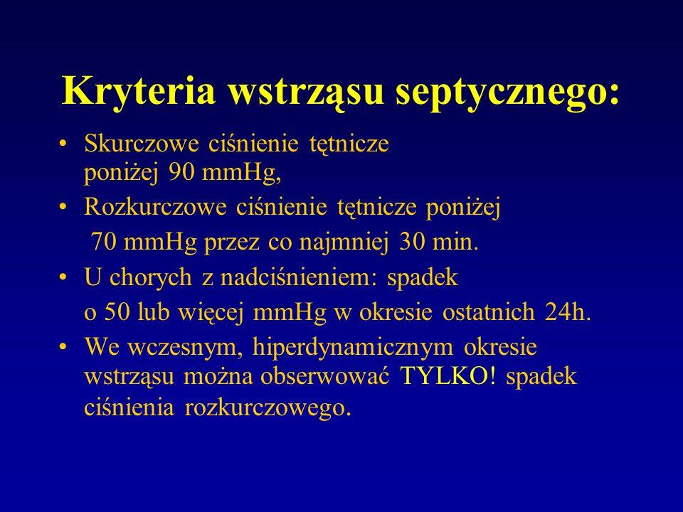 Kryteria wstrząsu septycznego: Skurczowe ciśnienie tętnicze poniżej 90 mmHg, Rozkurczowe ciśnienie tętnicze poniżej 70 mmHg przez co najmniej 30 min.