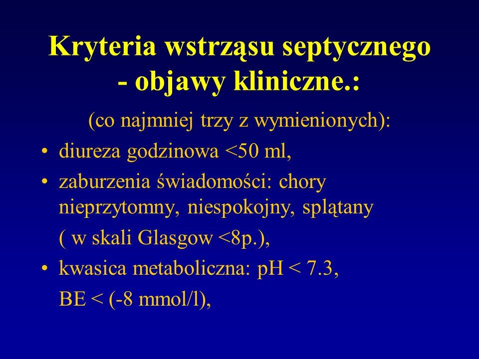 Kryteria wstrząsu septycznego - objawy kliniczne.: (co najmniej trzy z wymienionych): diureza godzinowa <50 ml, zaburzenia świadomości: chory nieprzyt
