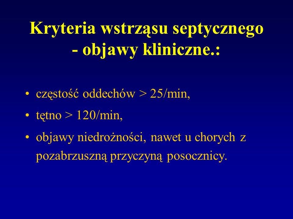 Kryteria wstrząsu septycznego - objawy kliniczne.: częstość oddechów > 25/min, tętno > 120/min, objawy niedrożności, nawet u chorych z pozabrzuszną pr