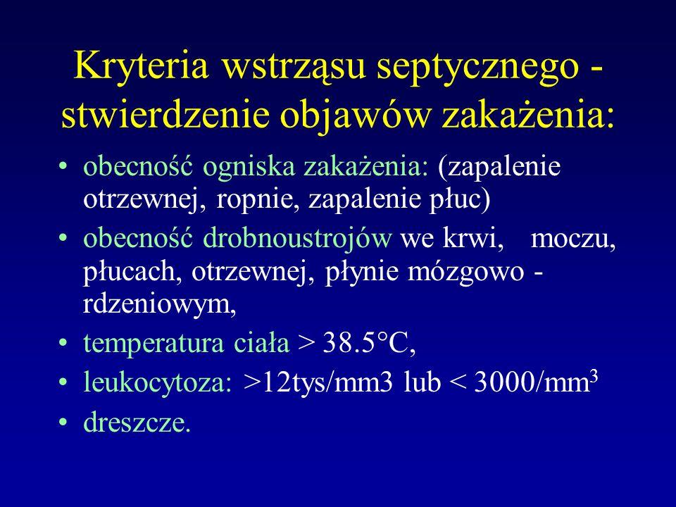 Kryteria wstrząsu septycznego - stwierdzenie objawów zakażenia: obecność ogniska zakażenia: (zapalenie otrzewnej, ropnie, zapalenie płuc) obecność dro
