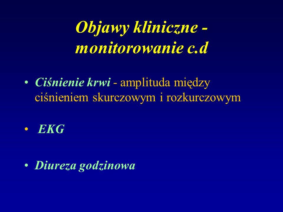 Objawy kliniczne - monitorowanie c.d Ciśnienie krwi - amplituda między ciśnieniem skurczowym i rozkurczowym EKG Diureza godzinowa
