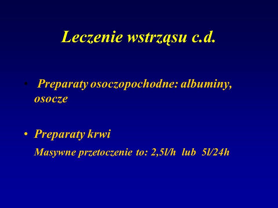 Leczenie wstrząsu c.d. Preparaty osoczopochodne: albuminy, osocze Preparaty krwi Masywne przetoczenie to: 2,5l/h lub 5l/24h