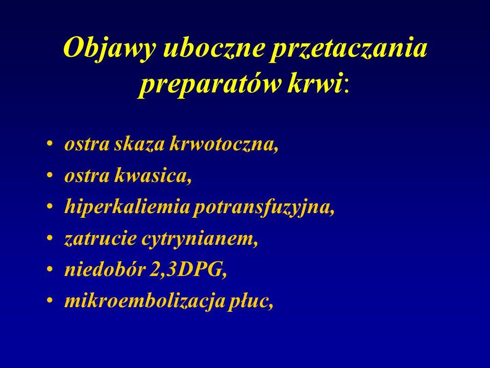 Objawy uboczne przetaczania preparatów krwi: ostra skaza krwotoczna, ostra kwasica, hiperkaliemia potransfuzyjna, zatrucie cytrynianem, niedobór 2,3DP