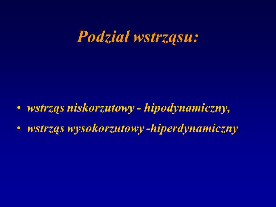 Podział wstrząsu: wstrząs niskorzutowy - hipodynamiczny, wstrząs wysokorzutowy -hiperdynamiczny.