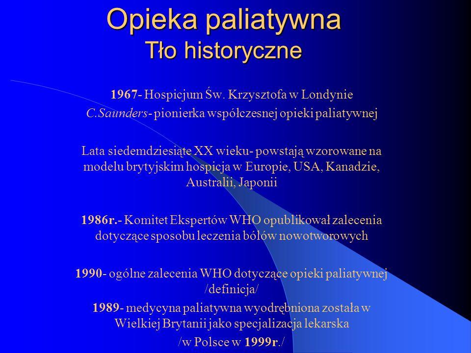 Opieka paliatywna Tło historyczne 1967- Hospicjum Św.