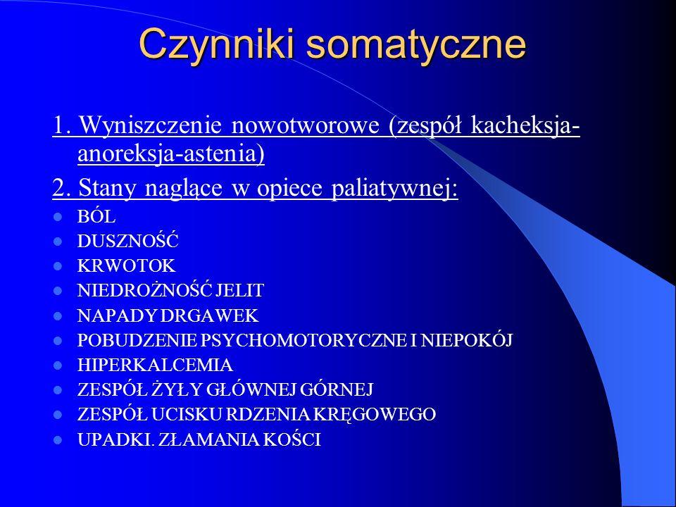 Czynniki somatyczne 1.Wyniszczenie nowotworowe (zespół kacheksja- anoreksja-astenia) 2.