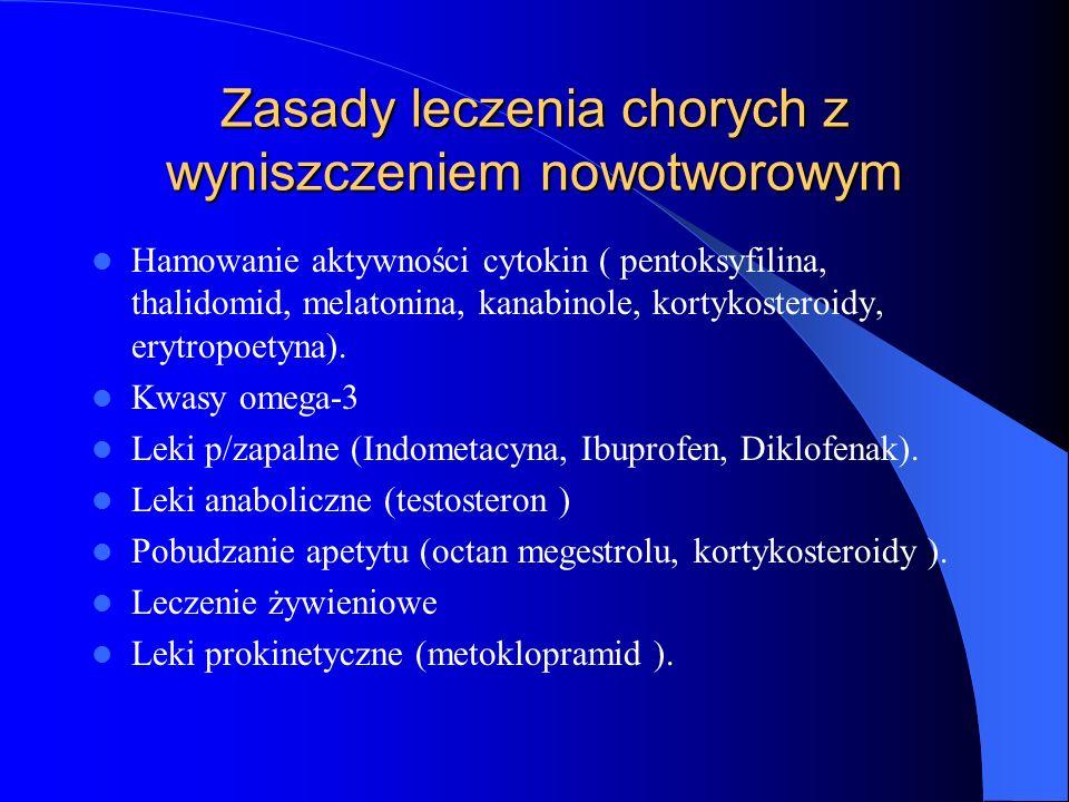 Zasady leczenia chorych z wyniszczeniem nowotworowym Hamowanie aktywności cytokin ( pentoksyfilina, thalidomid, melatonina, kanabinole, kortykosteroidy, erytropoetyna).