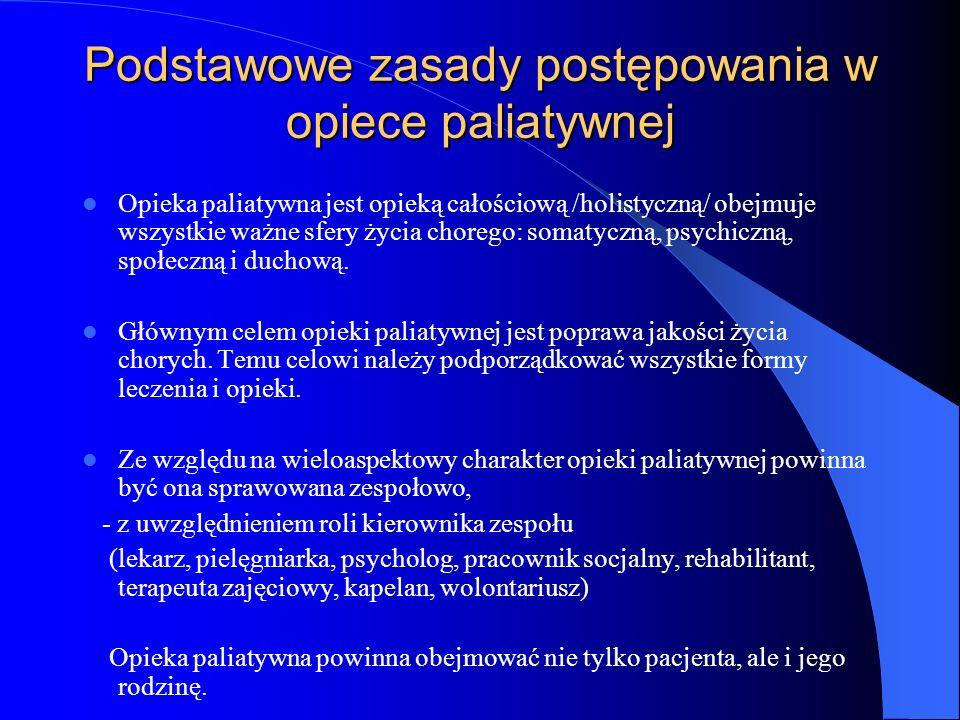 Podstawowe zasady postępowania w opiece paliatywnej Opieka paliatywna jest opieką całościową /holistyczną/ obejmuje wszystkie ważne sfery życia chorego: somatyczną, psychiczną, społeczną i duchową.
