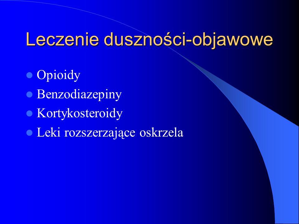 Leczenie duszności-objawowe Opioidy Benzodiazepiny Kortykosteroidy Leki rozszerzające oskrzela