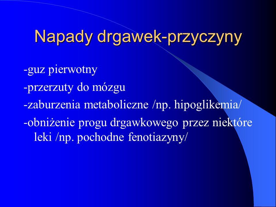 Napady drgawek-przyczyny -guz pierwotny -przerzuty do mózgu -zaburzenia metaboliczne /np.