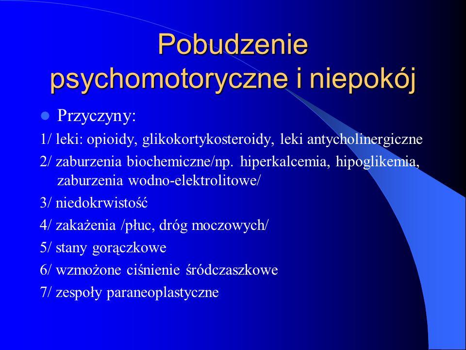 Pobudzenie psychomotoryczne i niepokój Przyczyny: 1/ leki: opioidy, glikokortykosteroidy, leki antycholinergiczne 2/ zaburzenia biochemiczne/np.