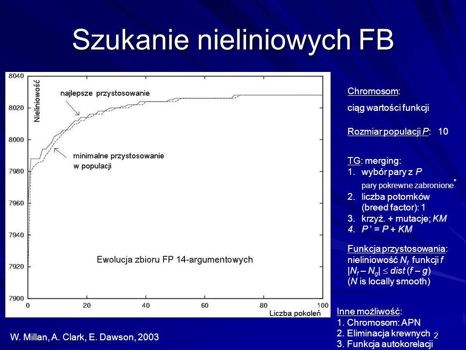 2 Szukanie nieliniowych FB W. Millan, A. Clark, E. Dawson, 2003 Rozmiar populacji P: 10 TG: merging: 1.wybór pary z P pary pokrewne zabronione * 2.lic