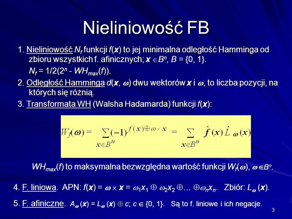 3 Nieliniowość FB 1. Nieliniowość N f funkcji f(x) to jej minimalna odległość Hamminga od zbioru wszystkich f. afinicznych; x 1. Nieliniowość N f funk